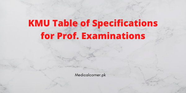 KMU Table of Specifications for Prof. Examinations