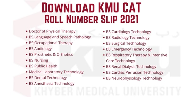 KMU CAT Roll Number Slip 2021